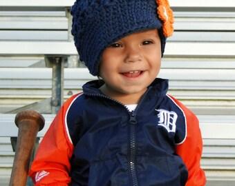 Crochet Hat for Girls, Detroit Tigers hat, crochet newsboy hat, team colors, baby hat, kids hat, Detroit Tigers