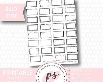 Bullet Journal Bujo Decorative Half Boxes Printable Planner Stickers | JPG/PDF/Silhouette Cut Files