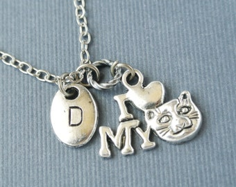 Personalized initial I love my cat necklace- Hand stamped kitty necklace for cat lover gift-Initial pet jewelry gift for her-Pet memorial