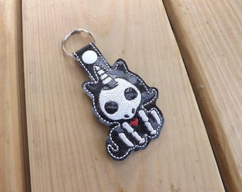 Creepy Cute Skeleton Unicorn Embroidered Keychain