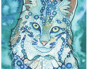 Bobcat 5 x 7 print of watercolour artwork, wild cat, nature forest mountain lynx, blue green turquoise teal sky ocean colours, woodland