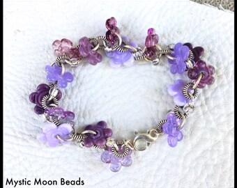 Purple Handmade Lampwork Bracelet Purple Artisan Flower Violet Disc Bead by Mystic Moon Beads SRA U#5