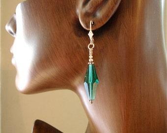 Downton Abbey Inspired Swarovski Crystal Earrings Emerald  Bicones Kate Drew-Wilkinson
