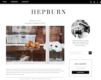 "Wordpress Theme Premade Blog Template Design - ""Hepburn"" Instant Digital Download"