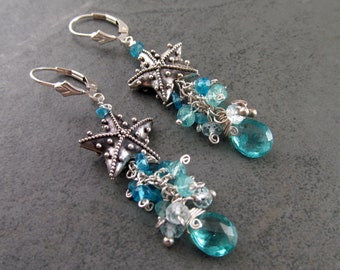 Silver starfish earrings, handmade sterling silver, apatite and aquamarine gemstone earrings, OOAK