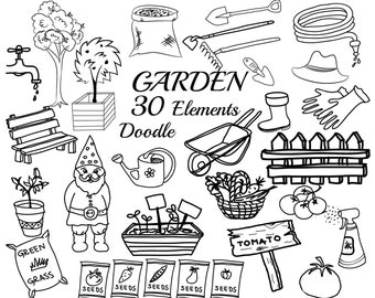 "Garden doodle clipart: ""GARDEN TOOLS CLIPART"" Garden Illustration,Hand Drawn clipart,Vegetables doodles,Lineart,Tomato clipart,Digital stamp"