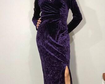 1980s velvet maxi dress