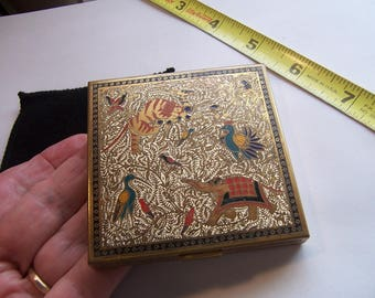 vintage Volupte compact with Asian animals decor