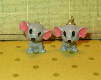 """Mouse Earrings, Pierced, Moveable, Gray and Pink, 3/4""""L, """"Littles Earrings, So Adorable, Sweet Mice, Simple Fun, 1980's"""
