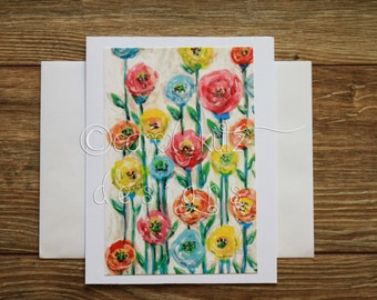 Flower Garden Greeting Card with Envelope / Floral Print of Original Art / Art Print / Blank Greeting Card / All Occasion
