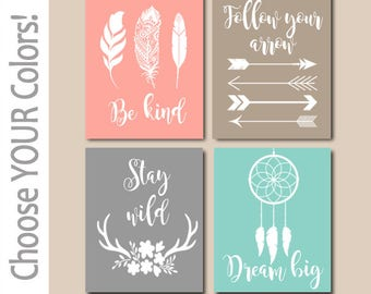 Girl Tribal Quotes,WOODLAND QUOTE Wall Art,CANVAS or Print,Be Brave Be Kind Dream Big Stay Wild,Tribal Shower,Woodland Sayings,Set of 4
