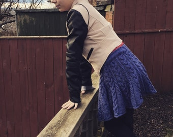 KNITTING PATTERN Cabled Skater Skirt Caitlin Pattern Fit and Flare Two Sizes Teenager Older Child Clothes