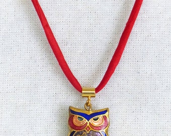Vintage Cloisonne Owl Necklace on Handmade Silk Cord, Double Sided Cloisonne Necklace, Red Blue and Purple Vintage Cloisonne Owl Pendant