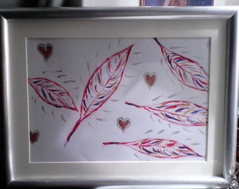 Feathers & Hearts ~ Framed Painting