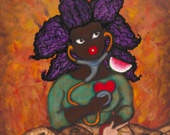 Print:11X14 16x20 20x30 Signs of Life! Affirmation Natural Hair by karin turner KarinsArt  watermelon  african american