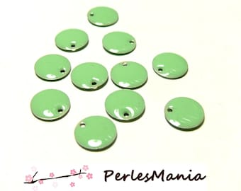 20 sequins medallions enameled two-sided round 10mm Green pistachio ref15