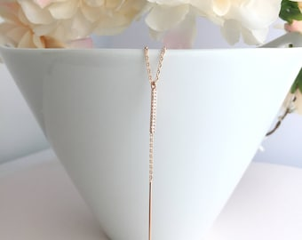 Diamond Bar Drop Necklace,Lariat Necklace,Rose Gold Lariat Necklace,Skinny Bar Drop Necklace,Y Necklace,Layering Necklace,Rose Gold Necklace