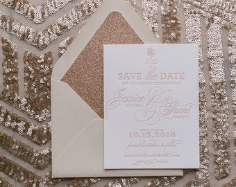 Letterpress Printing - Neutral and Rose Gold Glitter Save the Date - SAMPLE (KONA)