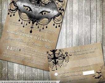 Masquerade Wedding Invitation Rustic Wedding Invite Halloween Wedding Mardi Gras Party Invite Gothic Wedding Rustic Glam Bat Mask Chandelier