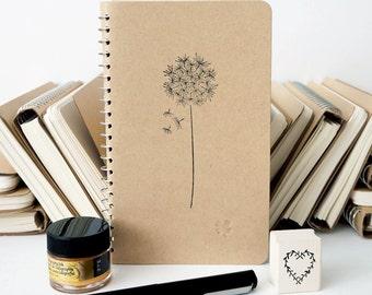 Kraft Notebook Dandelion Flower Small Blank Spiral Bound Journal Diary