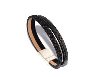 """DIY kit"" leather bracelet ""I love you MOM"" dark grey and black glitter (glitter, gloss)"