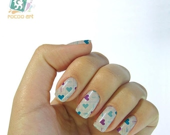 On Sale heart nail stickers decals nail art water decals, Nail Water Decals Transfers Wraps