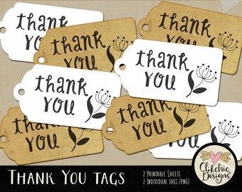 Printable Thank You Tags - Printable Gift Tags - Printable ThankYou Tags Collage Sheet, Wedding Tags, Favor Tags, Gift Tags, Customer Tags