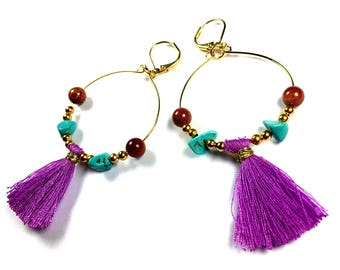 BO Creoles BAHIA brass Golden end 24 K stone Turquoise and purple Pompom