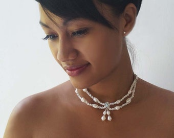 Macrame Pearl Necklace, Beach Wedding Choker, Bridal Pearl Necklace
