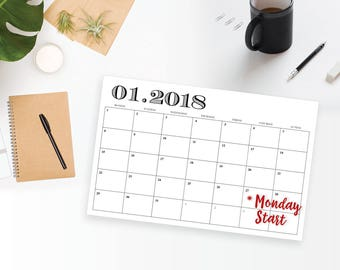 2018 MONDAY START Printable Wall Calendar - 11 x 17 Black Modern Monthly Wall Calendar - Professional Office Calendar - Instant Download