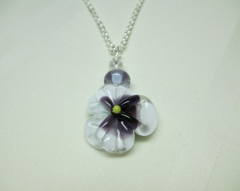 White and Purple Pansy Lampwork Bead Pendant Necklace