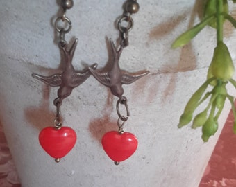 Hearts in Flight - Brass Sparrow Heart Dangle Earring