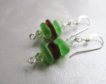 Mothers Day Gifts -Stacked Sea Glass Earrings , Beach Glass Jewelry , Brown Sea Glass ,  Kelly Green - Sea Glass - Mermaid Tears Seaglass