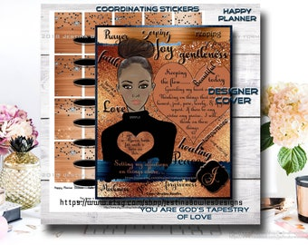 Happy Planner Cover, Christian Women,  African American, Printable Planner Cover, Custom name Planner, Personal use  028kfb-fos-glamcoppru