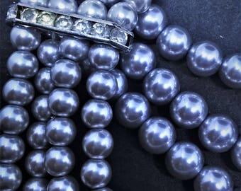 Grayish Blue Multi Strand Pearl Necklace