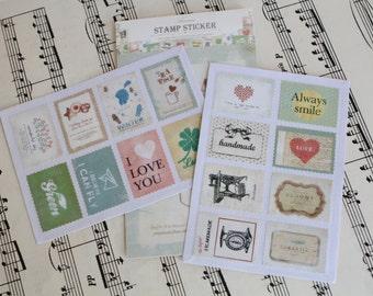Vintage Labels Stamp sticker set/  Scrapbooking Planner stamps/ Vintage Art Journal