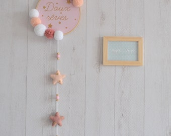 Embroidery hoop / wall decor pink and white