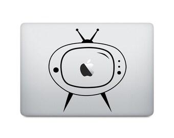 Retro TV Laptop Decal - Retro Macbook Decal - TV Laptop Sticker