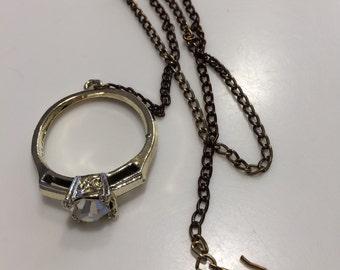 Vintage unique giant, huge oversize wedding marriage bridal engagement ring style necklace