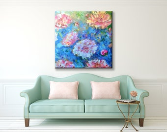 Floral Painting Wall Art Canvas Art Pink Turquoise Blue Peonies Roses Giclee Contemporary Modern Art Dreams of Love Large Home Decor Print