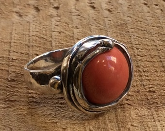 Coral ring, organic ring, statement ring, Sterling silver ring, gemstone ring, coral ring, cocktail ring - Whenever I'll See You R1470-8