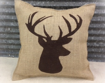 Decorative Pillow with a Deer silhouette. COMPLETE pillow. Cabin decor Hunting decor Deer pillow Home decor