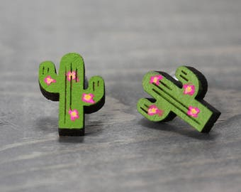 Cactus Earrings, Wood Earrings, Wood Cactus Earrings, Outdoor Earrings, Painted Earrings, Hand Painted, Nature Earrings, Nature Jewelry