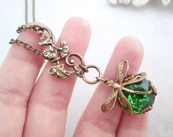 Green dragonfly necklace,  lariat necklace, Art Nouveau asymmetrical necklace, dragonfly jewelry, filigree jewelry, bug pendant necklace