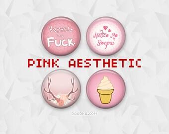 Pink Aesthetic - Kawaii as FUCK, Notice me Senpai, Rose Antlers (Pin-Back Buttons)