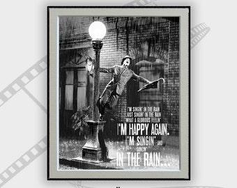 Singing in the Rain-Movie Poster, Movie, Gene Kelly, Song Lyrics  Art, Home Decor, Typography Art, Song Lyrics Art, Room Decor, Gift for her