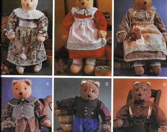 """Simplicity 7649 Stuffed Bears Dolls Plush And Clothes 22"""" Tall Boy Or Girl Sewing Pattern UNCUT"""