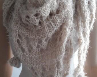 SUNNY - Lacy Shawl / Wedding Shawl / Bridal Shawl / Hand Knitted Shawl / Triangular Shawl / Crochet Flowers / Lacy Scarf / Hand Knit Scarf