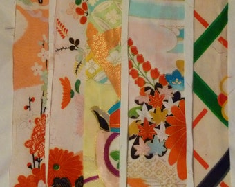 Assorted Antique / Vintage Japanese Kimono Fabric 100g - long strip05