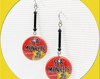 """1"""" Button Earrings Vintage Ads from the Back of Magazines X-Ray Glasses, Sea Monkeys, Pierced Dangle Earrings, Posts, Lever backs, Clip Ons"""